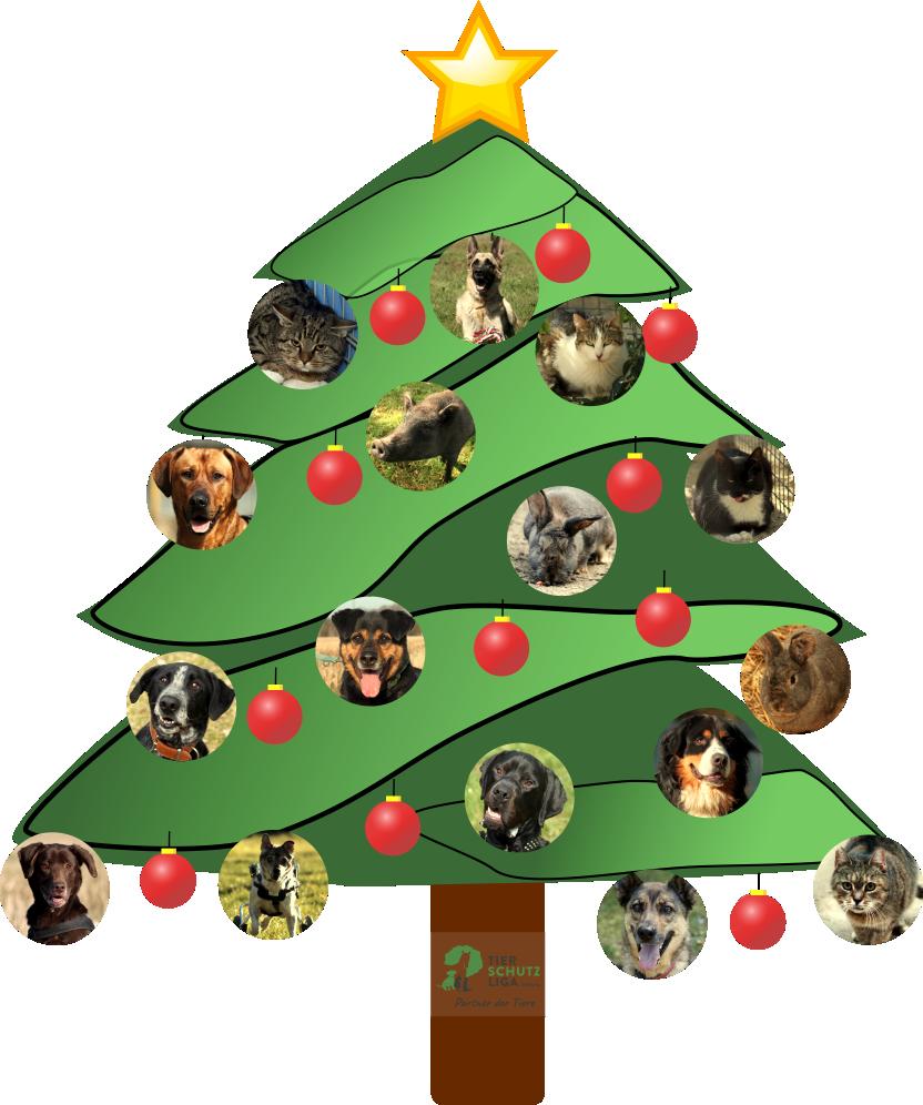 Weihnachtsbaum-mit-Tieren Tierweihnacht 2018 im Tierschutzliga-Dorf