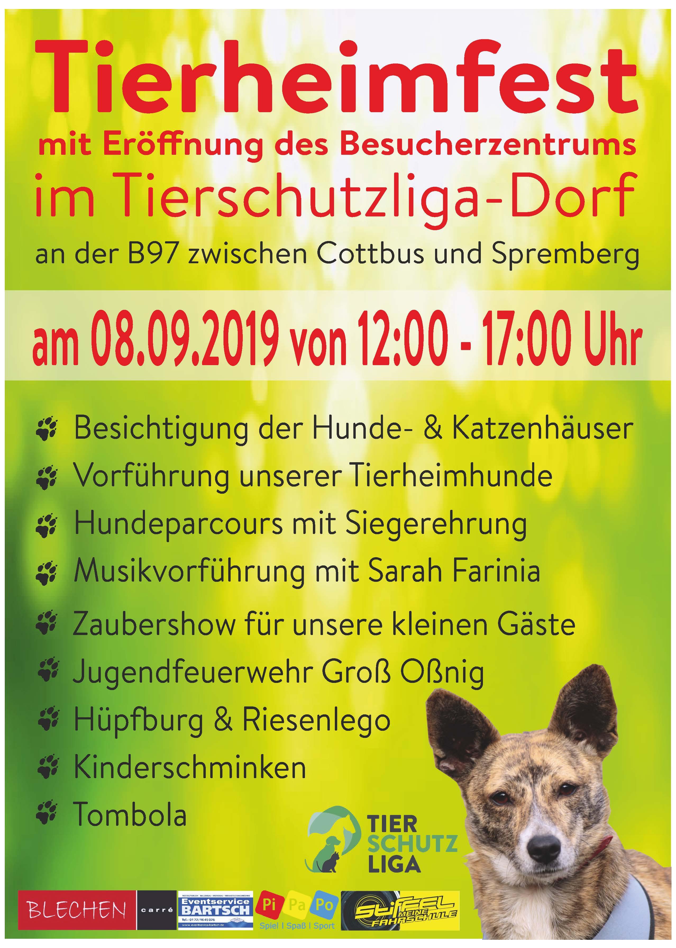 Plakat_2019_A4 Großes Tierheimfest-mit Eröffnung des Besucherzentrums